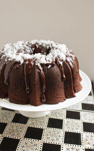 Glazed Chocolate Macaroon Bundt Cake on We Heart It