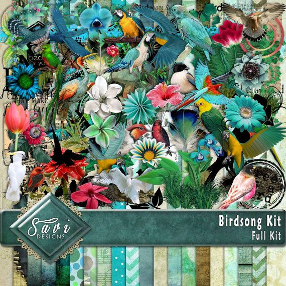 Digital Scrapbooking Kit Birdsong Birds, foliage, suitable for vintage and modern Scrap Pages in Blues and greens  Included in this kit 20 x BG Papers 102 x Embellishments