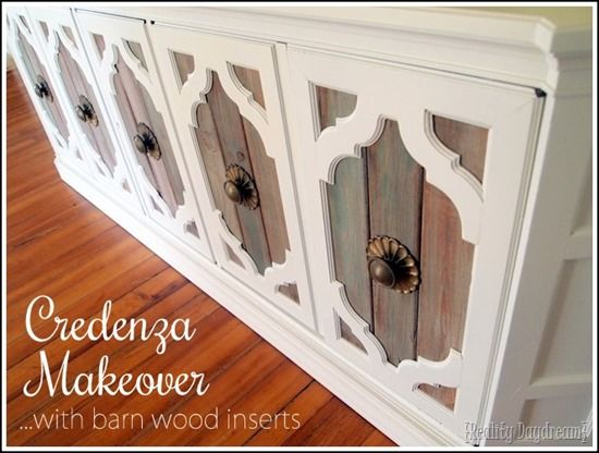 Credenza Overhaul Makeover Transformation... using Barn Wood Inserts! {Reality Daydream}
