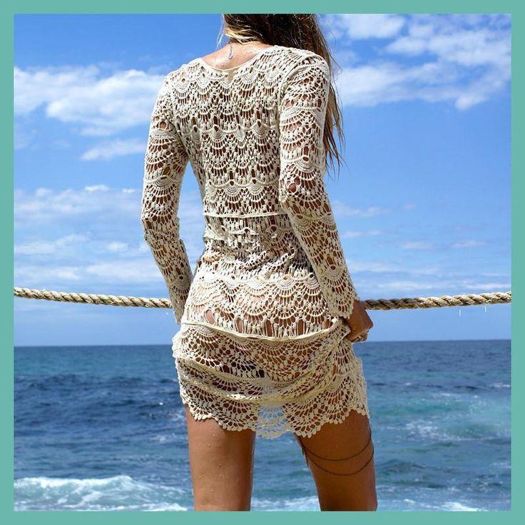 2017 Sexy Beach Cover up Crochet White Swimwear Dress Ladies Bathing Suit Cover ups Beach Tunic Saida de Praia