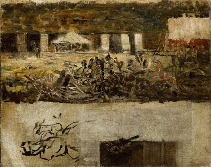 Jacek Malczewski (Polish, 1854-1929), Oil sketch - Sparrows. Oil on canvas, 34.5 x 43 cm.