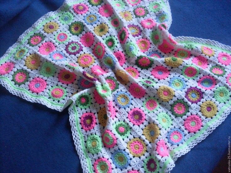 """Купить Детский плед вязаный """"Цветочная полянка"""" - цветочный, розовый, подарок девочке, для новорожденной малышки"""