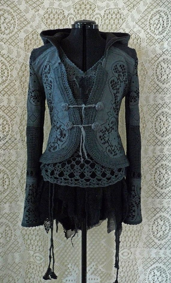 sale SHORT LACE JACKET bohemian fairy romantic by SINDdesign