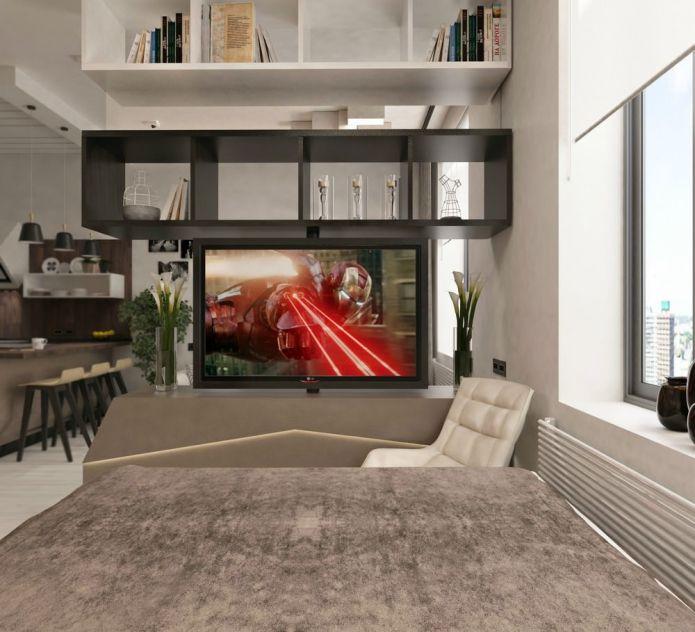 стеллаж между спальней и гостиной в дизайне студии 38 кв. м.