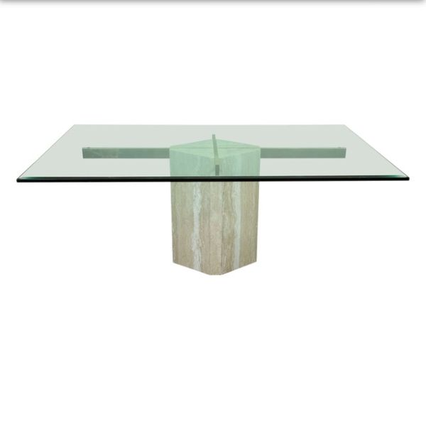 chrome and marble base glass dining table