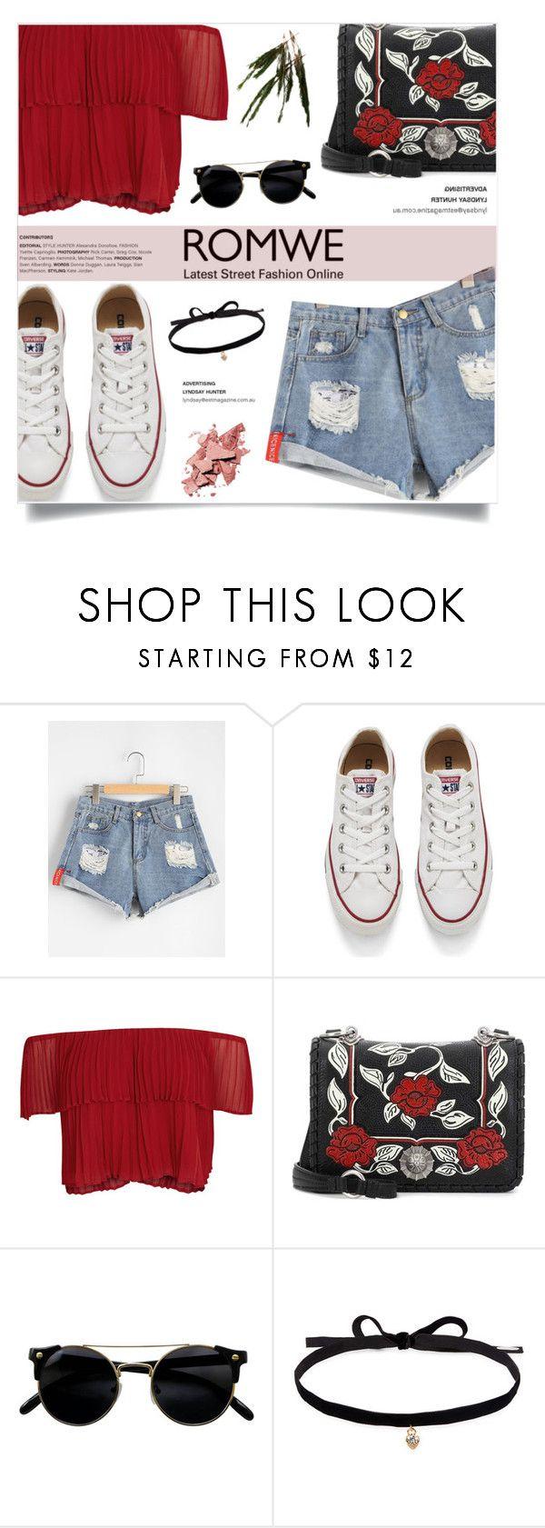 """Romwe - Ripped Denim Shorts"" by fashion-bea-16 ❤ liked on Polyvore featuring Converse, Keepsake the Label, Miu Miu and Joomi Lim"