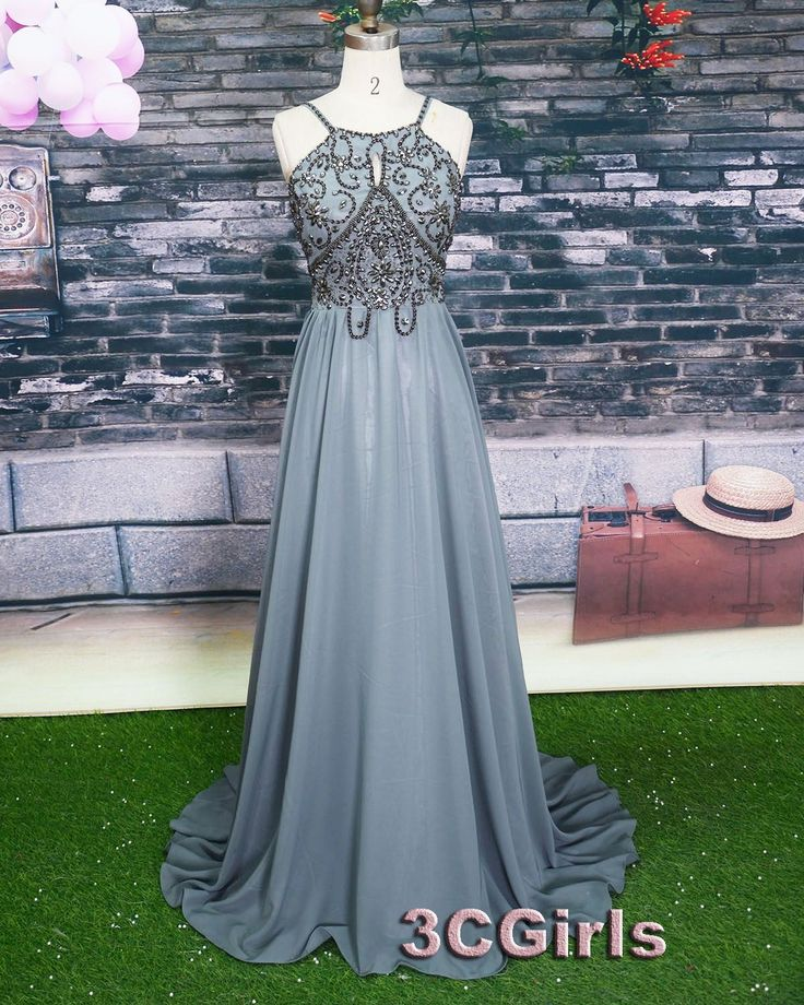 Vintage grey chiffon long beaded A-line prom dress for teens, bridesmaid dress, occasion dress #wedding #promdress -> http://www.3cgirls.com/#!product/prd1/4211346651/grey-long-beading-a-line-prom-dresses