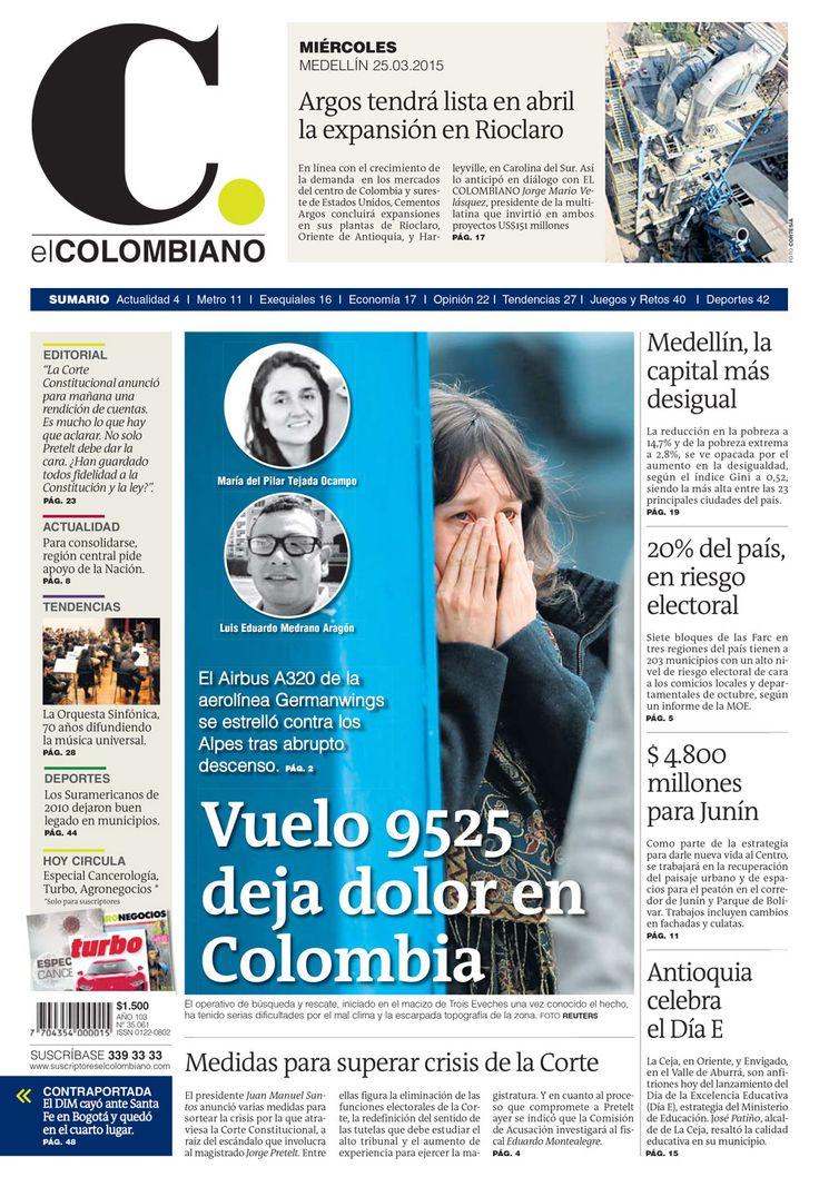 Portada de El Colombiano para el miércoles 25 de marzo de 2015.
