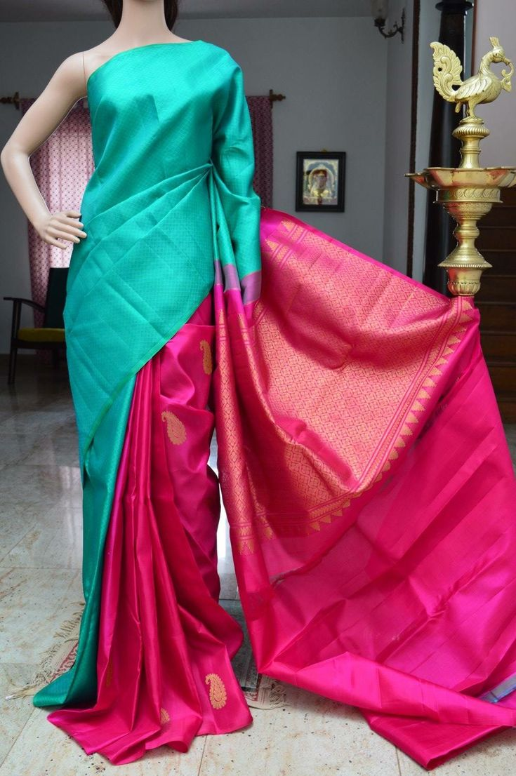 2 shade, half n half kanchipuram pattu saree
