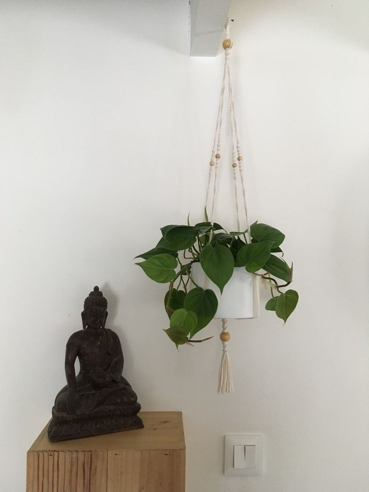 Suspension en macramé pour plante ByMadjo (avec pot) L70cm : Accessoires de maison par bymadjo