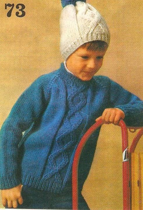 Vintage knitting free patterns, gratis breipatronen onder andere jaren 70 patronen: Makkelijke kindertrui met muts om zelf te breien