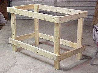 Completed 2x4 frame for low-cost workbench.