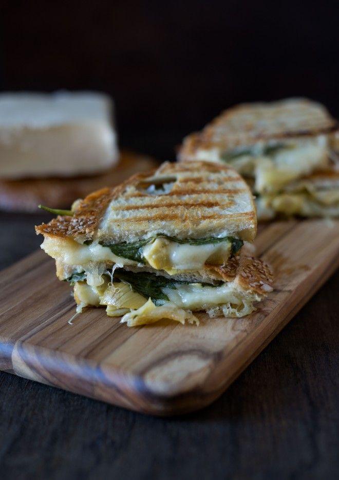 Mozzarella spinach and artichoke panini