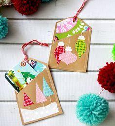 idée de carte vœux Noël faite maison en carton et tissus à motifs