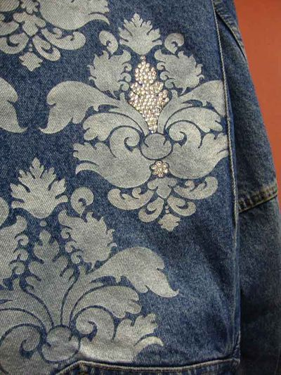 Denim jacket decorated with the damask stencil from Helen Morris's new book, Stencil It.