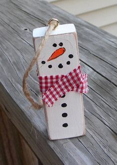 Snowman Ornament Repurposed Jenga Block Rustic by EmbellishCraft