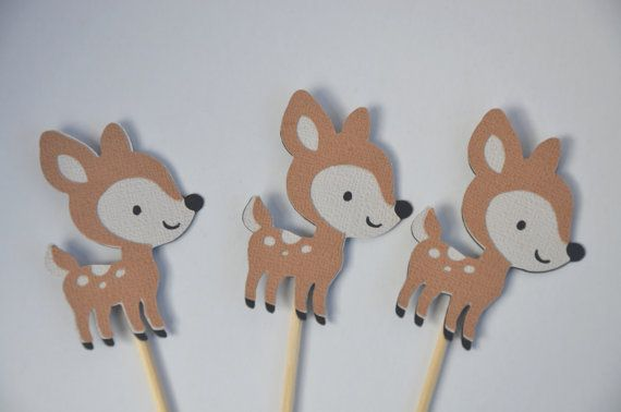 12 Deer Cupcake toppers Deer cake topper Bambi Baby by FreshGifts, $18.00