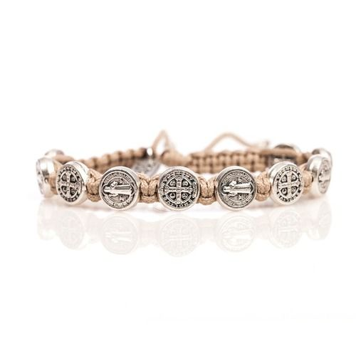 Tan & Silver St. Benedict Blessing Bracelet