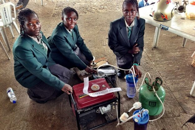 The 14 and 15 year old girls created the device, which provides 6 hours of electricity with 1 liter...
