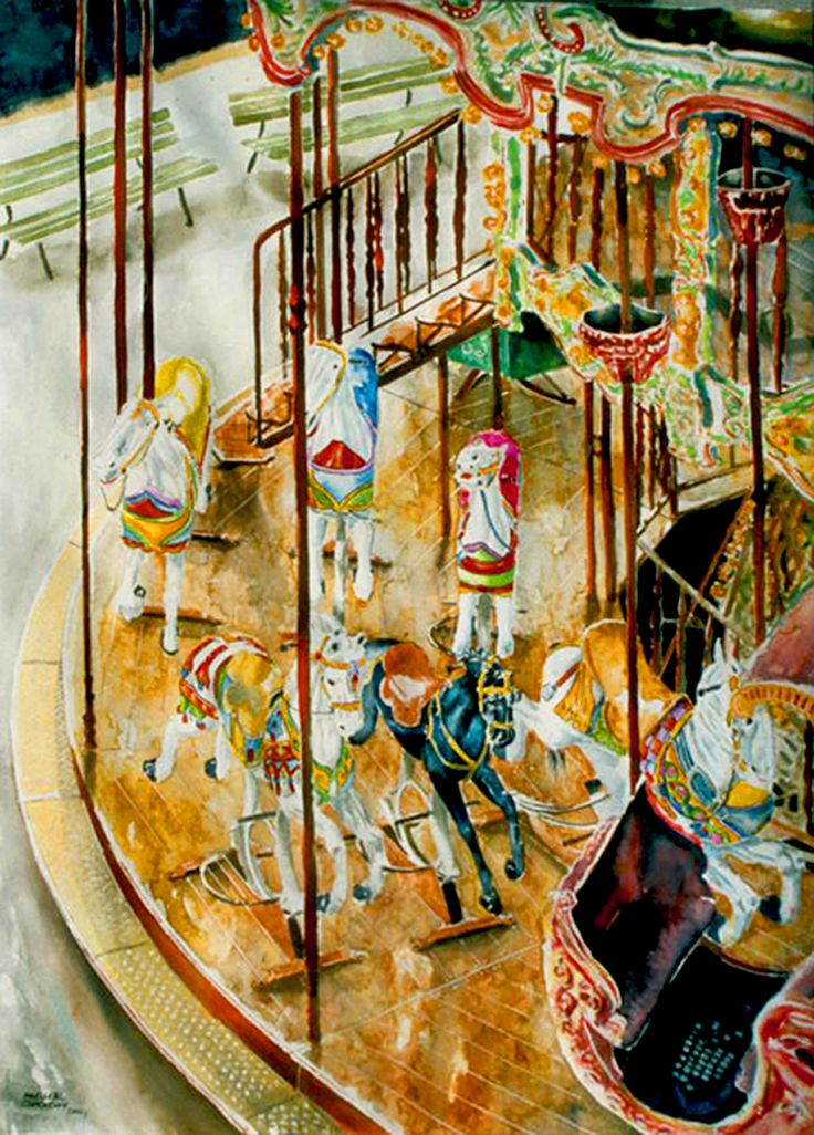 "carousel montmartre paris  (3) 30"" x 22""  micheal zarowsky / watercolour on arches paper / available $2100.00"