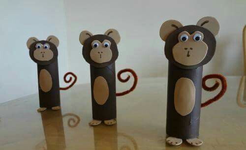 Monkey toilet paper roll craft