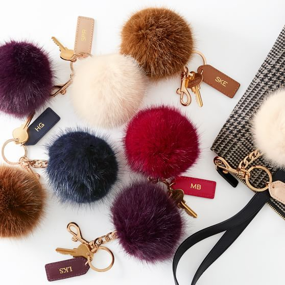 For Jess after baby with baby initials - Pompom Keychain | Mark and Graham