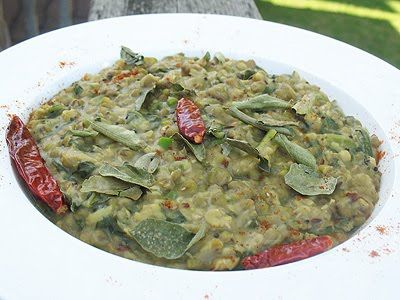 Mung Beans with Fresh Mustard Greens.