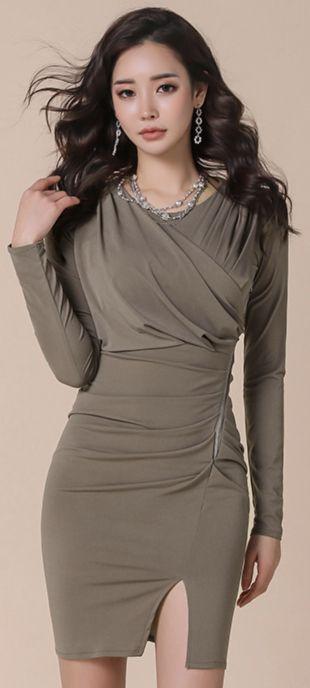 StyleOnme_Front Slit Shirred Slim Fit Dress #feminine #slimfit #dress #koreanfashion #kstyle #kfashion #partylook #springtrend