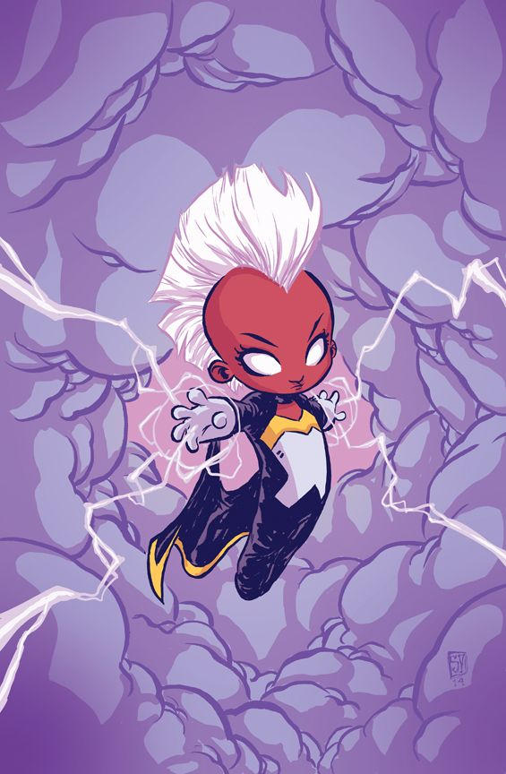 Adorable baby variant of Greg Pak's upcoming Storm #1, coming July 23, 2014. Art by Skottie Young. So stoked for this series!