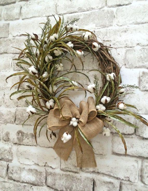 Cotton Wreath Cotton Boll Wreath Front Door by AdorabellaWreaths