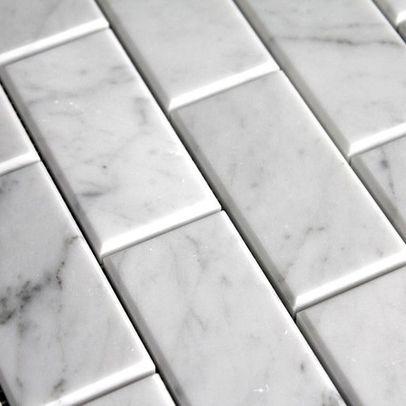 Kitchen backsplash Carrara Bianco Marble Subway Tile with Beveled Edge $12.99/ft