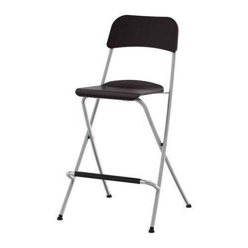 FRANKLIN  Bar stool with backrest, foldable, brown-black, silver color  $34.99  The price reflects selected options  Article Number: 401.992.11  Folds flat; space-saving when not in use. Footrest for extra sitting comfort.