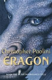 Eragon by Christopher Paolini . This is the first book in the Inheritance series of 4 books. Set in Alagaësia the novels focus on the adventures of a teenage boy named Eragon and his dragon, Saphira, as they struggle to overthrow the evil king Glabatorix.