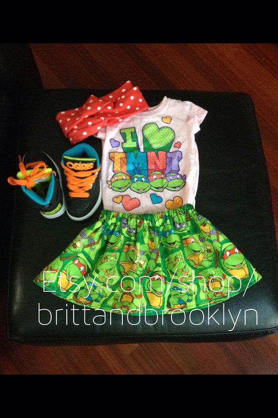 Ninja turtle character skirt for baby girl and by BrittAndBrooklyn, $12.00