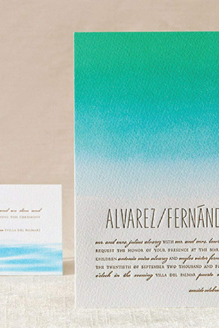 Subtle differences that make a world of difference. This Tide letterpress wedding invitation suite by @elumdesigns is the perfect choice for a modern destination wedding invitation or any elegant affair with a serene setting. The subtle color wash hints at an escape from one's daily routine to a quieter more peaceful place. The tranquil blue and deep sea green ombre makes this invitation totally unique!