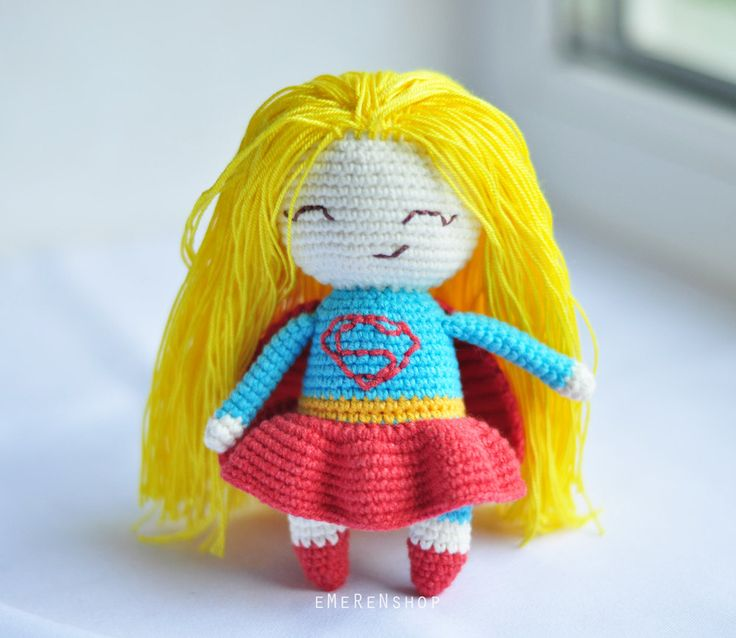 Crochet Super Hero Inspired Doll - Super Girl - Handmade Crocheted Amigurumi Gift by EMERENstore on Etsy