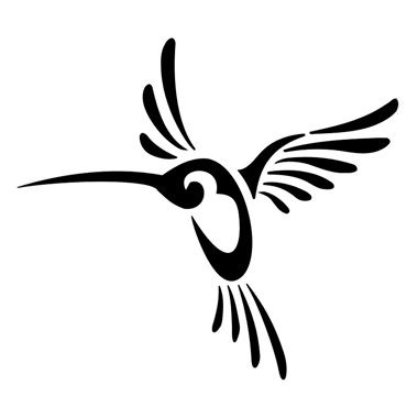 Tribal Hummingbird Tattoo On A White Background