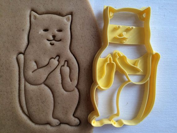 Cookie Cutter Cat with fucks sceptical cookiecutter cookies custom shape custom size custom picture