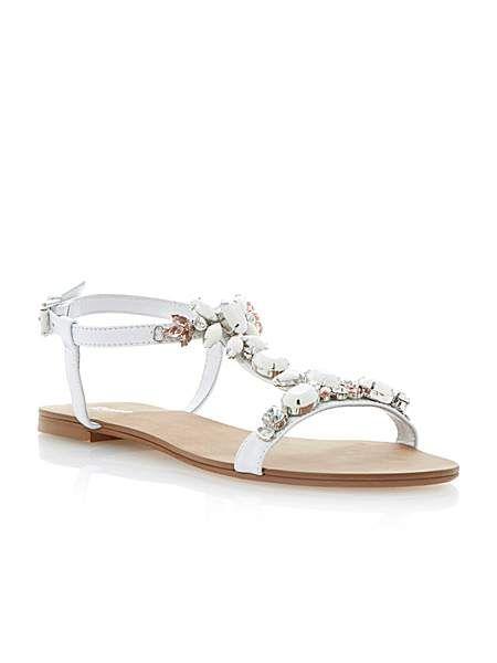 Khloe leather flat buckle dressy sandals