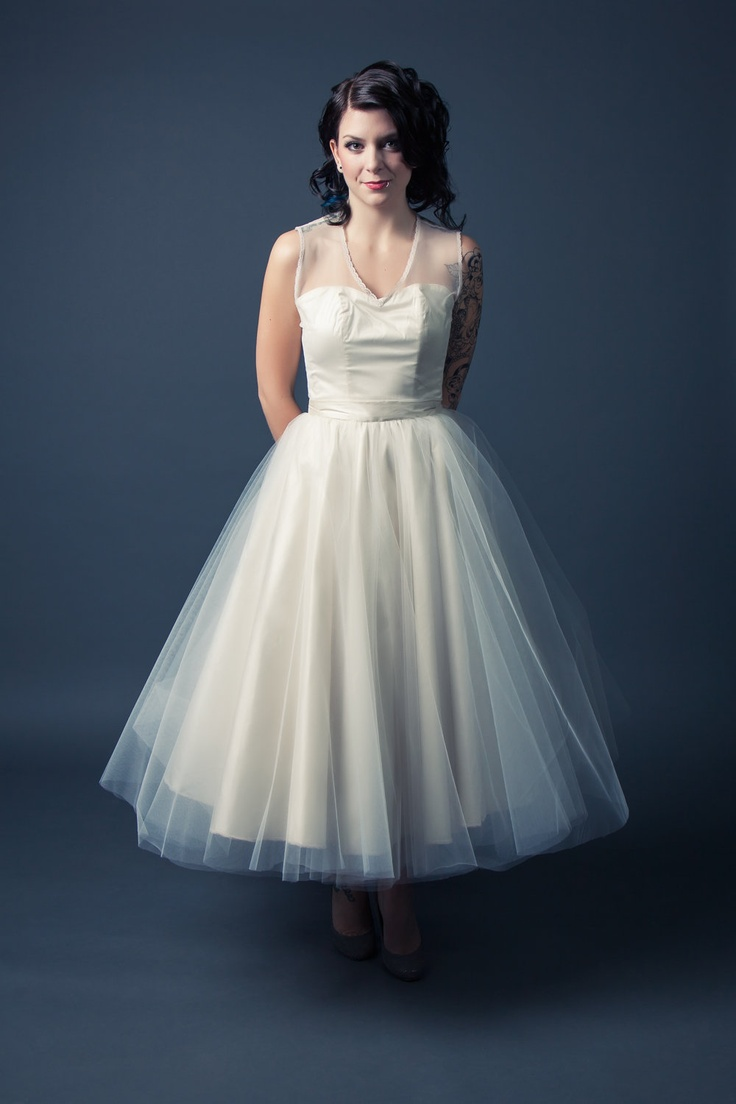Short Wedding Dress Vintage Inspired Tulle Circle Skirt Sweetheart Lace Illusion Neckline Custom