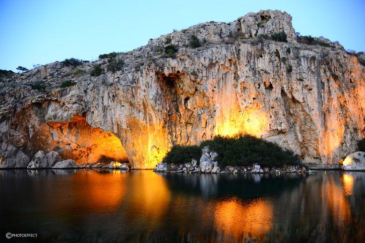 Natural lake of Vouliagmeni in Athens for thermal spa and natural fish spa.