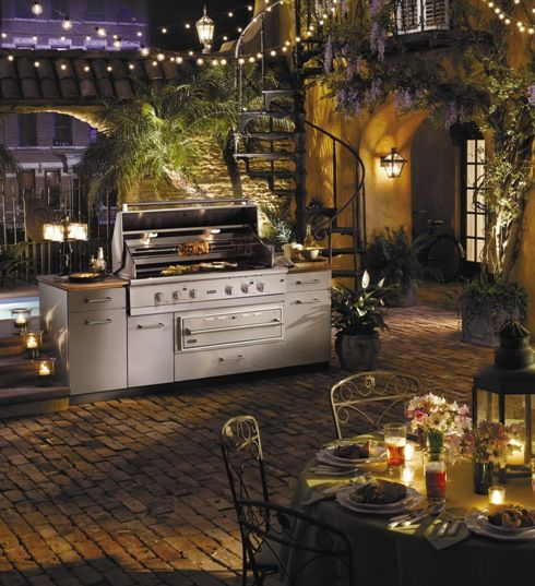 Outdoor Kitchen Grill Courtyard W/ String Lights