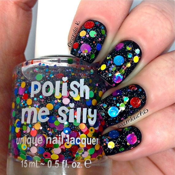 Welcome to Polish Me Silly!  Yipee...we finally got our shop opened!  We are a mother / daughter team who love to create polish!  •••• CLEAR BASE POLISH (not a black base)...can be worn over ANY color •••  ♥ Surprise Me is THE MOST GORGEOUS polish.  EVERYONE NEEDS TO OWN THIS POLISH...it's that GREAT on!!!!  LOL  It is meant to look like a bunch of presents and colorful happiness on your nails!  It has a shimmer to add some pizazz!  It consists mostly of circle/dot  glitters and some hexes…