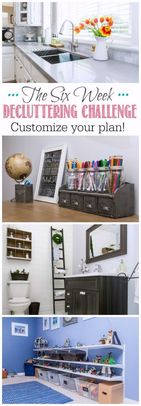 Take 6 weeks to declutter and organize all of the major spaces in your home. Lots of organizational tips and ideas about where to start along with free printables to customize your plan!