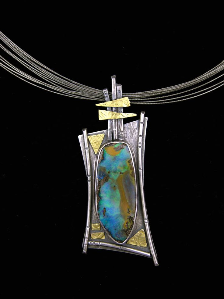 Necklace | Elaine Rader. Sterling silver, 22k gold, Boulder opal.