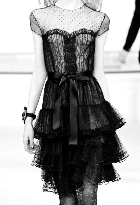 Black lace, ribbons and ruffles