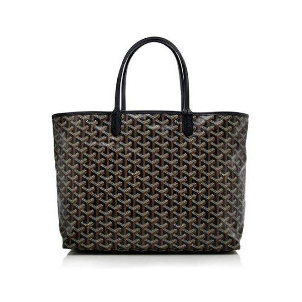 Rental Goyard St. Louis PM Tote (1.665 ARS) ❤ liked on Polyvore featuring bags, handbags, tote bags, black, goyard handbags, black handbags, goyard purse, black canvas tote bag and goyard tote