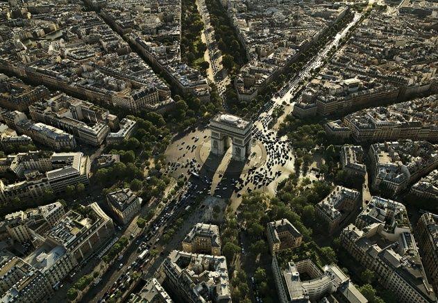 YannArthusBertrand2.org - Fond d écran gratuit à télécharger || Download free wallpaper - L'Arc de Triomphe de l'Étoile et l'avenue des Cham...
