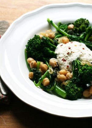 Broccoli Rabe with Chickpeas and Ricotta   Recipes - PureWow - sub the ricotta cheese!