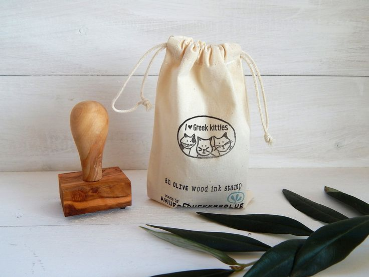 I love Greek Kitties - Greece Inspired Olive Wood Stamp with Handle by ahueofduckeggblue on Etsy